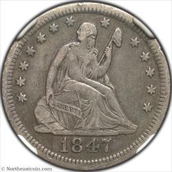 1847-O Seated Quarter NGC VF30