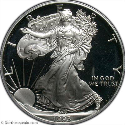 1993-P Silver Eagle PCGS PR69DCAM