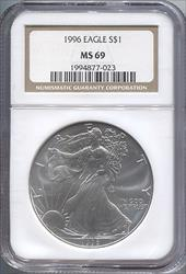 1996 Silver Eagle NGC MS69