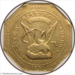 1851 $50 Humbert 880 THOUS. Reeded Edge No 50 on Rev Territorial Gold NGC AU53