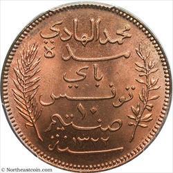 1904-A 10 Centimes Lec-99 Tunisia PCGS MS64RD