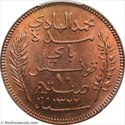 1904-A 10 Centimes Lec-99 Tunisia PCGS MS64+RD