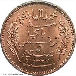 1904-A 5 Centimes Lec-75 Tunisia PCGS MS64RD