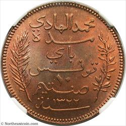AH1322/1904-A 10 Centimes Tunisia NGC MS65RB