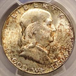 1952-D Franklin Half Dollar, PCGS MS-65FBL, Mint Set Coin