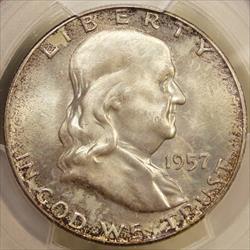 1957-D Franklin Half Dollar, PCGS MS-65FBL, Mint Set Coin
