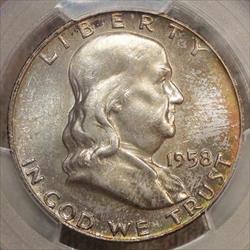 1958-D Franklin Half Dollar, PCGS MS-66FBL, Attractive Mint Set Color