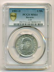 Germany Bavaria Silver 1903 D 2 Mark MS64 PCGS