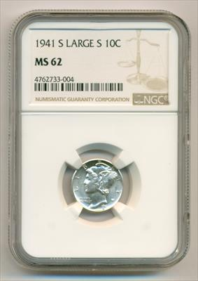 1941 S Mercury Dime Large S Variety (FS-511) MS62 NGC