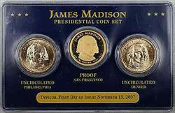 2007 James Madison Presidential Coin Set First Day of Issue $1