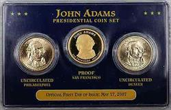 2007 John Adams Presidential Coin Set First Day of Issue $1