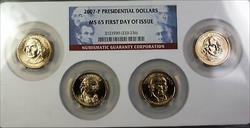 2007 P Presidential Dollars First Day Issue 4 BU Coins  NGC Holder