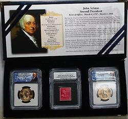 2007 P&D John Adams Presidential BU Dollar Coins with Stamp