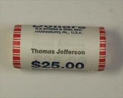 2007 Thomas Jefferson Presidential Dollar Roll BU 25 $1 Coins *Mint Mark Unknown