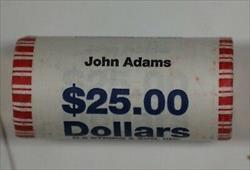 2007-P John Adams Presidential Dollar Roll BU 25 $1 Coins Original Bank Wrapping