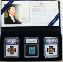 2008 P&D James Monroe Presidential BU Dollar Coins with Stamp