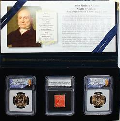 2008 P&D John Quincy Adams Presidential BU Dollar Coins with Stamp