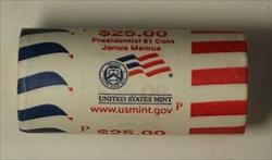 2008-P James Monroe Presidential Dollar Roll BU 25 $1 Coins Bank Wrapped OBW