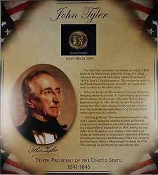 2009 John Tyler Presidential Coin BU/UNC $1 with Biography and 2 Stamps
