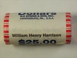 2009 William H Harrison Presidential Dollar OBW Roll 25 Coins *Mint Mark Unknown