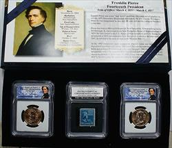 2010 P&D Franklin Pierce Presidential BU Dollar Coins with Stamp