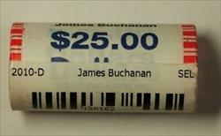 2010-D James Buchanan Presidential Dollar Roll BU 25 1$ Coins Bank Wrapped OBW