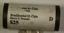 2015-D Harry S Truman Presidential Dollar Roll 25 BU $1 Coins Bank Wrapped OBW