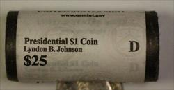 2015-D Lyndon B Johnson Presidential Dollar Roll 25 BU $1 Coins Bank Wrapped OBW