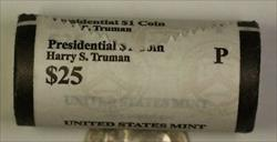 2015-P Harry S Truman Presidential Dollar Roll 25 BU $1 Coins Bank Wrapped OBW