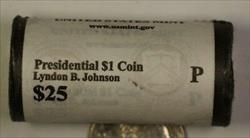 2015-P Lyndon B Johnson Presidential Dollar Roll 25 BU $1 Coins Bank Wrapped OBW