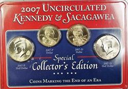 2007 Kennedy Half Dollar and Sacagawea BU $1 Sealed Coin Uncirculated Set