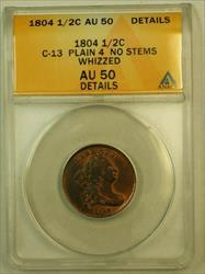 1804 Draped Bust Half Cent H1c ANACS  Details Whizzed