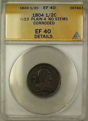 1804 Plain 4 No Stems Draped Bust 1/2c Coin C-13 ANACS  Details Corroded
