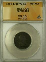 1805 Draped Bust 1/2c Coin ANACS  Details Corroded (Better Coin) (WW)