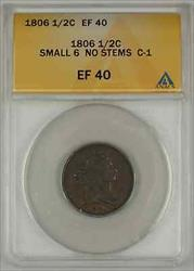 1806 Draped Bust Half Cent Coin ANACS Small 6 No Stems C-1