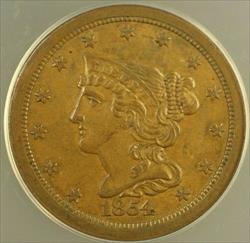 1854 Braided Hair Half Cent H1c ANACS