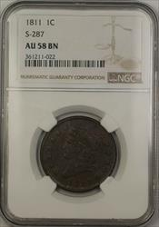 1811 Classic Head Large Cent 1c Coin S-287 NGC  BN Brown *VERY SCARCE*