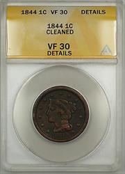 1844 Braided Hair Large Cent 1c Coin ANACS  Details Cleaned