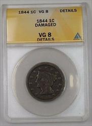 1844 US Braided Hair Large Cent 1c Coin ANACS  Details Damaged