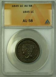 1845 Braided Hair Large Cent 1c ANACS  RJS