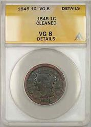 1845 Braided Hair Large Cent 1C Coin - Condition Is: ANACS  Details Cleaned!