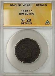 1845 Braided Hair Large Cent 1C Coin ANACS  Details Rim Bumps B
