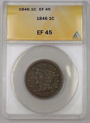 1846 US Braided Hair Large Cent Coin ANACS