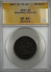 1847 Braided Hair Large Cent 1c Coin ANACS  Details Reverse Tooled