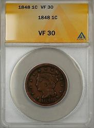1848 Large Cent 1c Coin ANACS  (A)