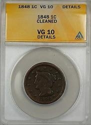 1848 Large Cent 1c Coin ANACS  Details Cleaned