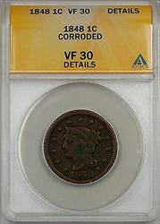 1848 Large Cent 1c Coin ANACS  Details Corroded