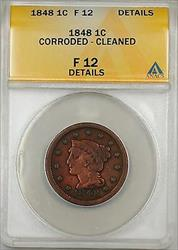 1848 Large Cent 1c Coin ANACS  Details Corroded-Cleaned