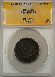 1848 Large Cent 1c Coin ANACS  Details Rim Bumps