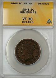 1848 Large Cent 1c Coin ANACS  Details Rim Bumps (A)